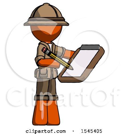 Orange Explorer Ranger Man Using Clipboard and Pencil by Leo Blanchette