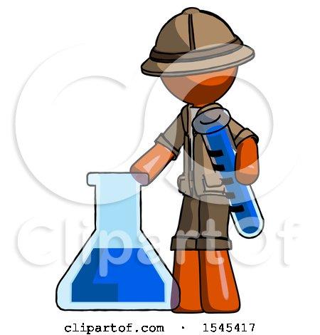 Orange Explorer Ranger Man Holding Test Tube Beside Beaker or Flask by Leo Blanchette