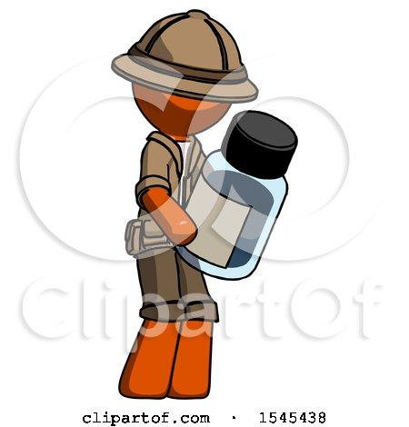 Orange Explorer Ranger Man Holding Glass Medicine Bottle by Leo Blanchette