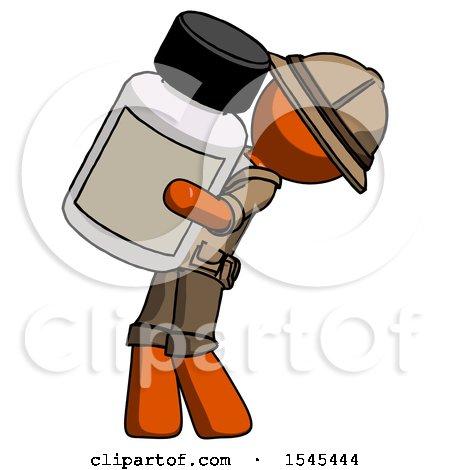 Orange Explorer Ranger Man Holding Large White Medicine Bottle by Leo Blanchette