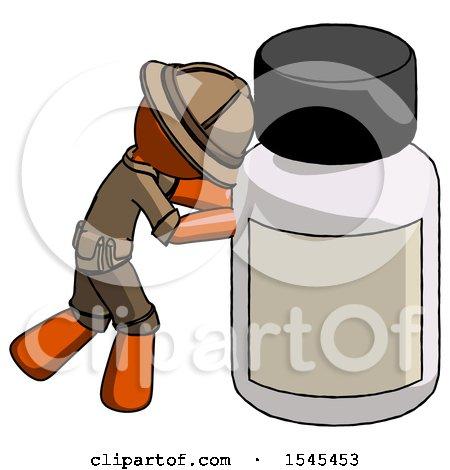 Orange Explorer Ranger Man Pushing Large Medicine Bottle by Leo Blanchette