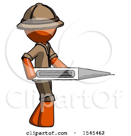 Orange Explorer Ranger Man Walking with Large Thermometer by Leo Blanchette