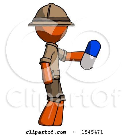 Orange Explorer Ranger Man Holding Blue Pill Walking to Right by Leo Blanchette