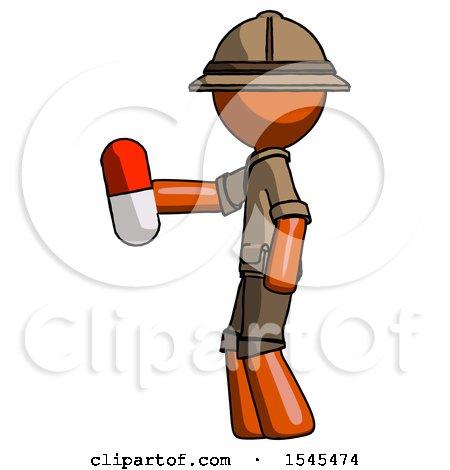 Orange Explorer Ranger Man Holding Red Pill Walking to Left by Leo Blanchette