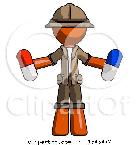 Orange Explorer Ranger Man Holding a Red Pill and Blue Pill by Leo Blanchette
