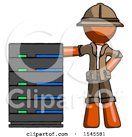 Orange Explorer Ranger Man with Server Rack Leaning Confidently Against It by Leo Blanchette