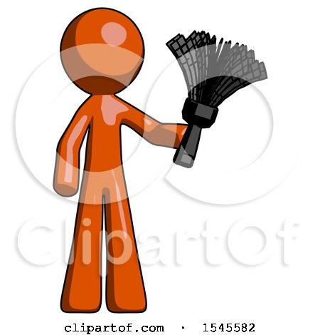 Orange Design Mascot Man Holding Feather Duster Facing Forward by Leo Blanchette