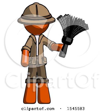 Orange Explorer Ranger Man Holding Feather Duster Facing Forward by Leo Blanchette