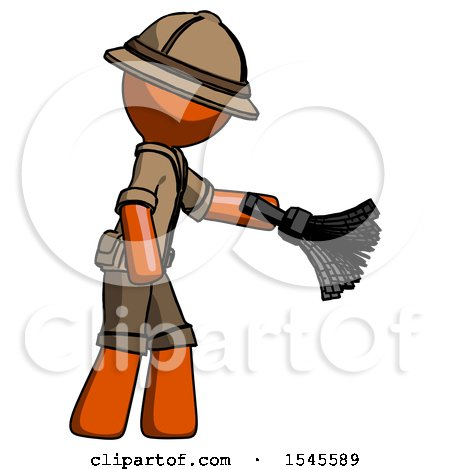 Orange Explorer Ranger Man Dusting with Feather Duster Downwards by Leo Blanchette