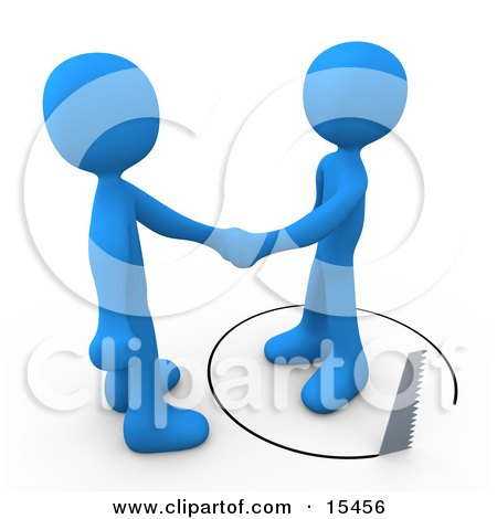 Unsuspecting Blue Man Shaking Hands On A Deal With Another Man As A Saw Cuts A Circle Out From Under Him  Posters, Art Prints
