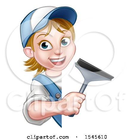 Clipart of a White Female Window Cleaner Holding a Squeegee Around a Sign - Royalty Free Vector Illustration by AtStockIllustration