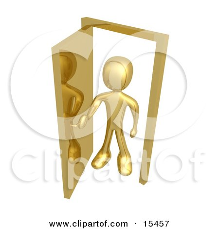 Gold Figure Standing In An Open Doorway, Uncertain Of Whether Or Not To Enter, Symbolizing Opportunity Clipart Illustration Image by 3poD