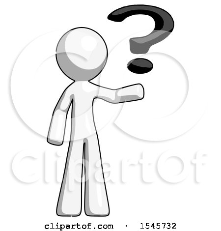 White Design Mascot Man Holding Question Mark To Right By Leo