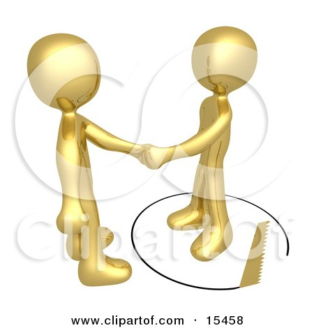 Unsuspecting Gold Man Shaking Hands On A Deal With Another Man As A Saw Cuts A Circle Out From Under Him  Posters, Art Prints