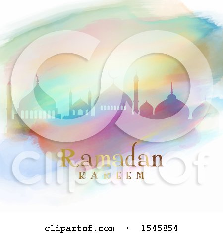 Clipart of a Silhouetted Mosque in Colorful Watercolor, with Ramadan Kareem Text - Royalty Free Vector Illustration by KJ Pargeter