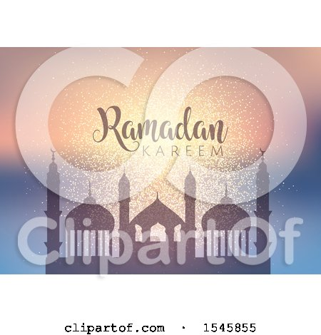 Clipart of a Silhouetted Mosque with Ramadan Kareem Text - Royalty Free Vector Illustration by KJ Pargeter