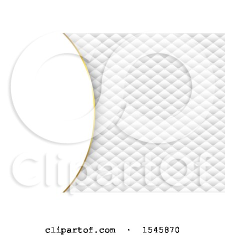 Clipart of a White and Gold Luxury Quilted Background with Text Space - Royalty Free Vector Illustration by KJ Pargeter
