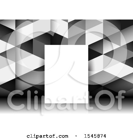 Clipart of a Blank Canvas Against a Geometric Background - Royalty Free Vector Illustration by KJ Pargeter