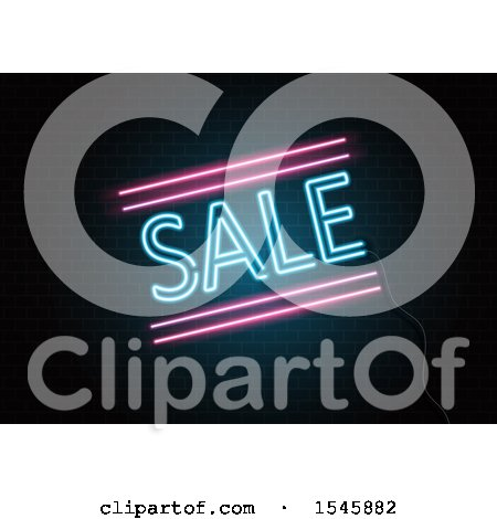 Clipart of a Neon Sale Sign on a Brick Wall - Royalty Free Vector Illustration by KJ Pargeter