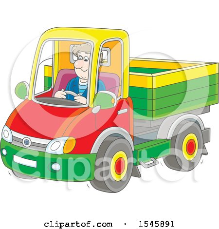 Clipart of a White Man Driving a Pickup Truck - Royalty Free Vector Illustration by Alex Bannykh
