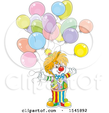 Clipart of a Party Clown with Birthday Balloons - Royalty Free Vector Illustration by Alex Bannykh
