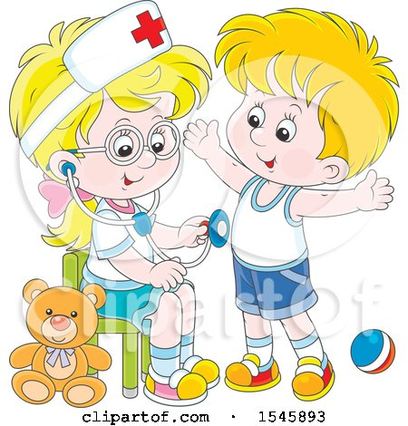 Clipart of a Blond White Girl Playing Nurse with a Boy - Royalty Free Vector Illustration by Alex Bannykh