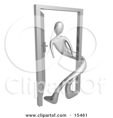 Silver Person Twisted Around The Frame Of An Open Door, Symbolizing Lonliness, Split Personalities, Uncertainty, And An Egotistical Person Clipart Illustration Image by 3poD