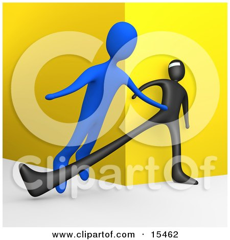 Unsuspecting Blue Man Being Tripped By A Black Robber As He Turns A Corner Clipart Illustration Image by 3poD
