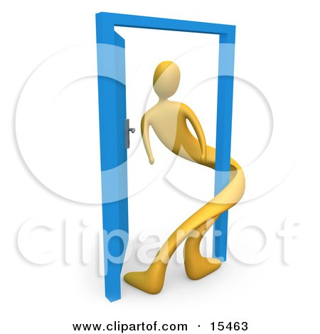 Yellow Person Twisted Around The Frame Of An Open Blue Door, Symbolizing Lonliness, Split Personalities, Uncertainty, And An Egotistical Person Clipart Illustration Image by 3poD