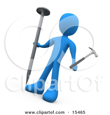 Confused Blue Person Holding A Large Nail And A Tiny Hammer, Trying To Accomplish A Difficult Task  Posters, Art Prints