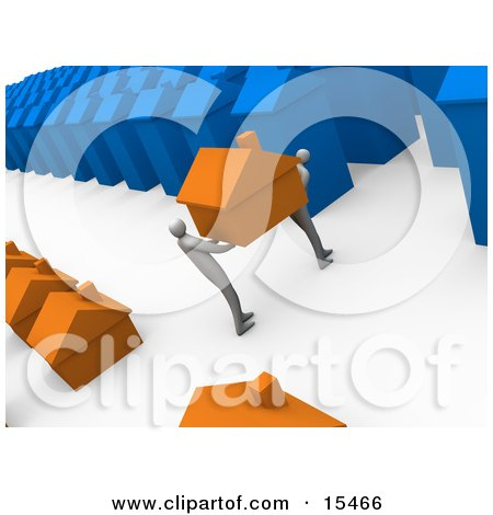 Two People Moving Their Orange Home From A Small Neighborhood Into A Big Blue City, Symbolizing Relocation And Promotions Clipart Illustration Image by 3poD