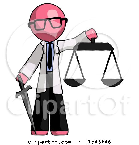 Pink Doctor Scientist Man Justice Concept with Scales and Sword, Justicia Derived by Leo Blanchette