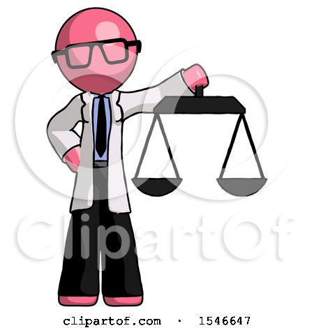 Pink Doctor Scientist Man Holding Scales of Justice by Leo Blanchette