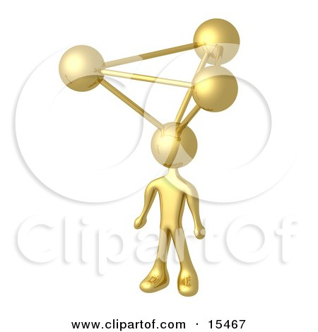 Golden Employee With Atoms On His Head, Symbolizing A Genius, Ideas, Crativity And Brainstorming  Posters, Art Prints