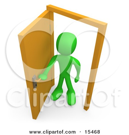 Green Figure Standing In An Open Doorway, Uncertain Of Whether Or Not To Enter, Symbolizing Opportunity Clipart Illustration Image by 3poD