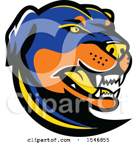 Clipart of a Tough Angry Rottweiler Dog Mascot Head - Royalty Free Vector Illustration by patrimonio