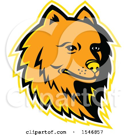 Clipart of a Pomeranian Dog Mascot Head with a Yellow Outline - Royalty Free Vector Illustration by patrimonio