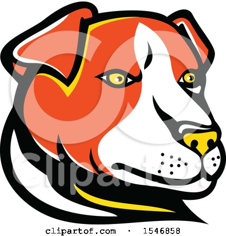 Clipart of a Jack Russell Terrier Dog Mascot Head - Royalty Free Vector Illustration by patrimonio