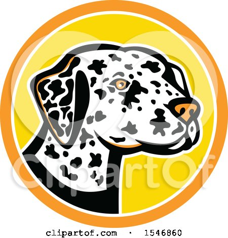 Clipart of a Dalmatian Dog Mascot Head in a Yellow and Orange Circle - Royalty Free Vector Illustration by patrimonio