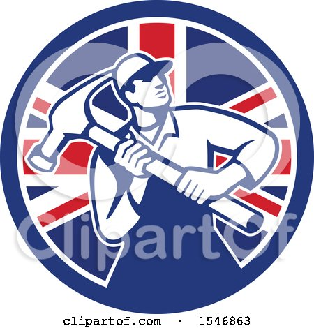 Clipart of a Retro Male Carpenter Holding a Giant Hammer in a Union Jack Flag Circle - Royalty Free Vector Illustration by patrimonio