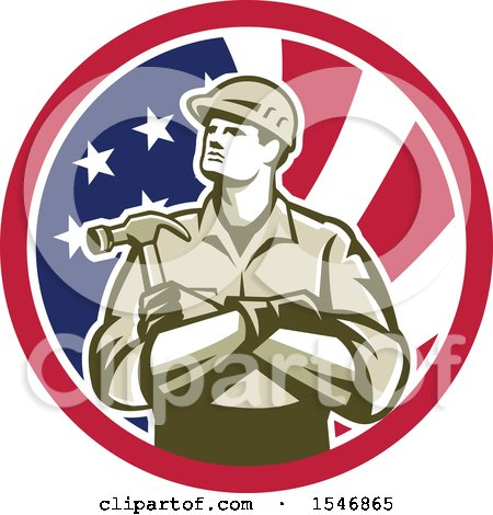 Clipart of a Retro Male Carpenter Holding a Hammer in an American Flag Circle - Royalty Free Vector Illustration by patrimonio