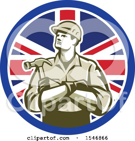 Clipart of a Retro Male Carpenter Holding a Hammer in a Union Jack Flag Circle - Royalty Free Vector Illustration by patrimonio