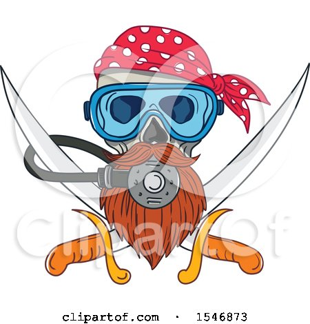 Clipart of a Pirate Skull Wearing a Diving Mask over Crossed Swords - Royalty Free Vector Illustration by patrimonio
