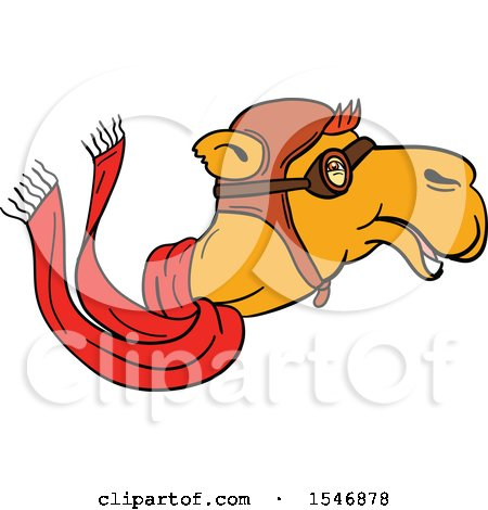 Clipart of a Pilot Camel Head in Profile, with Goggles, a Hat and Scarf - Royalty Free Vector Illustration by patrimonio
