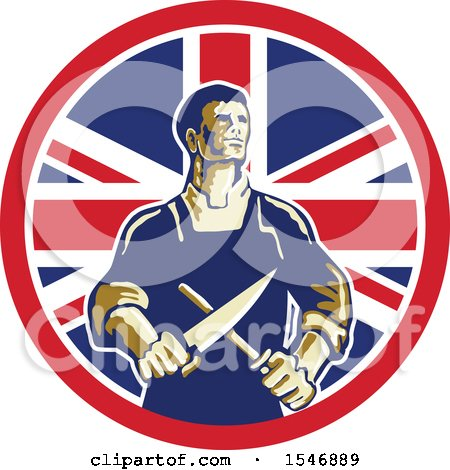 Clipart of a Retro Male Butcher Sharpening a Knife in a Union Jack Flag Circle - Royalty Free Vector Illustration by patrimonio