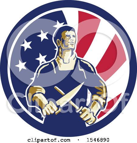 Clipart of a Retro Male Butcher Sharpening a Knife in an American Flag Circle - Royalty Free Vector Illustration by patrimonio