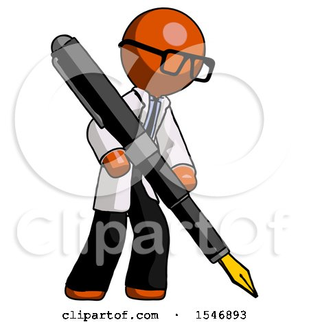 Orange Doctor Scientist Man Drawing or Writing with Large Calligraphy Pen Posters, Art Prints