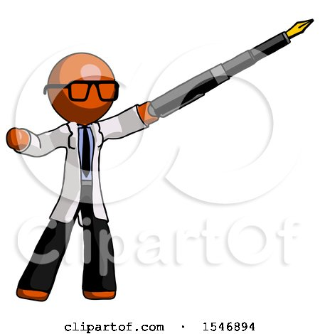 Orange Doctor Scientist Man Pen Is Mightier Than the Sword Calligraphy Pose Posters, Art Prints