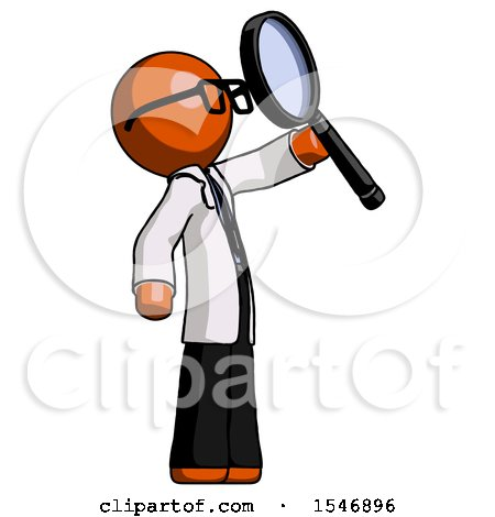 Orange Doctor Scientist Man Inspecting with Large Magnifying Glass Facing up by Leo Blanchette