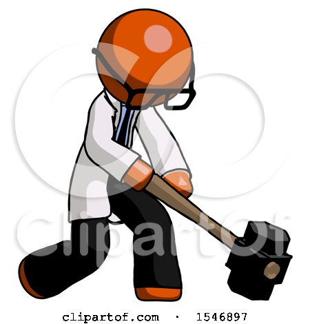 Orange Doctor Scientist Man Hitting with Sledgehammer, or Smashing Something at Angle by Leo Blanchette